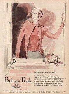 Peck & Peck ladies petal pink twin set (1947).