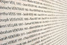 Wall of Names: The Wall of Names in the Shoah Memorial in Paris lists the 76,000 French Jews sent to the Nazi death camps from 1942 to 1944. (Photo Credit: Pascal Deloche/Godong/Corbis)