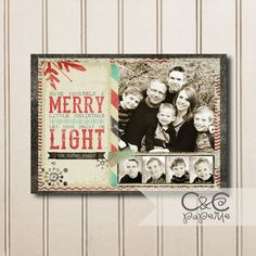 Printable Christmas Card with Multiple Photos--Let Your Heart Be Light