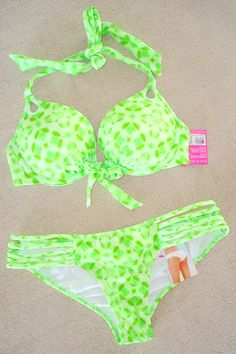 New Victoria's Secret Gorgeous Pushup Strappy Green White Bikini Swimsuit