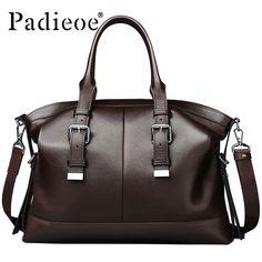 Padieoe Luxury Vintage Design Men's Briefcase Casual tote Bag Genuine Leather Business Shoulder Bag Office Bags Durable Handbags