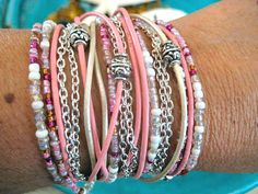 "Boho Chic Endless Leather Wrap Beaded Bracelet...Breast Cancer Awareness....""FREE SHIPPING""    by LeatherDiva on Etsy, $38.00"
