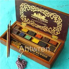 vintage Winsor & Newton watercolor box