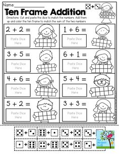Ten Frame Addition with DOMINOS, addition facts and ten frames! FUN and super EFFECTIVE! TONS of hands-on Back to School resources!