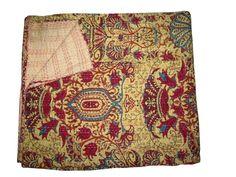 Queen Kantha Quilt Cotton Blanket Indian Bedding Handmade Bedspread Throw Decor #LuckyHandicraft #AntiqueStyle