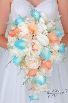Davids Bridal Beach Theme cascading Bellini peach and Malibu turquoise wedding bouquet with starfish and seashells Wedding Flowers