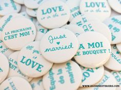 Badges personnalisés pour mariage/anniversaire/baptême/soirée Vert emeraude Faits par www.dansmestiroirs.com