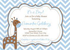 Giraffe Chevron Boy Baby Shower Invitations by PinkSkyPrintables, $12.00