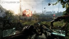 This is crysis 3. Using the crytek engine the crysis franchise has achieved amazing graphics as you can see in the picture. The weapon (Bow And Arrow) looks amazing. The detail added to it such as the shadow of the players arm on the bow, the metal tip of the arrow shining in the sun light just makes the game look that much more realistic. The explosion in the background looks as realistic as it can get even in comparison to battlefield 4 the new release to the battlefield franchise.