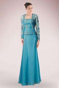 834a0a5fe Glamorous Chiffon Column Mother of Bride Dress with Lace Applique and Sheer  Lace Jacket Trajes De
