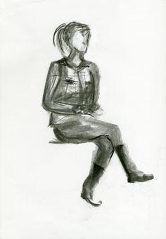 Apuntes de figura sentada. Ejercicio 4. 30x42. Jurema Martín