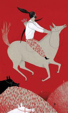 RED and horses and bows and arrows! http://violetalopiz.blogspot.com/