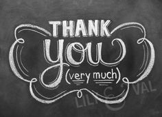 Digital Image - DIY Printable - Hand Lettered Thank You Card - Chalk Art - Modern Thank You Card. $19.00, via Etsy.