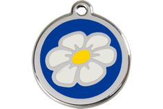 Personalized Pet ID Tag Dog Cat Kitten Animal Information Daisy Flower Design Pendant on Stainless Steel Enamel Size Small Dark Blue Navy Colored Background