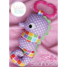 """Quick and simple little seahorse! Can be made on its own as a little softie or attached to a link ring as a travelling baby toy. This pattern is suitable for all skill levels. Completed size: Measures 3"""" x 6½"""". Both Creative Card and PDF pattern contain full step-by-step instructions and the full sized templates..."""