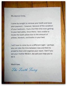 genius tooth fairy note - you MUST see this - doing it next time a tooth falls out!