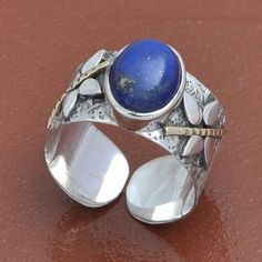 HOT SELL 925 SOLID STERLING SILVER LADIS LAPIS FANCY RING 4.85g DJR3660 #Handmade #Ring