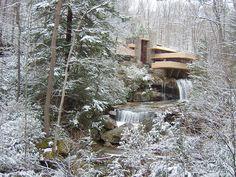 Frank Lloyd Wright's Fallingwater in winter