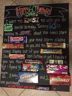 Easy Valentines Gifts to Make for Boyfriend – Candy Poster Dads th birthday candy board Candy Poster Board, Candy Bar Posters, Candy Board, Poster Boards, Homemade Birthday Gifts, 60th Birthday Gifts, Birthday Fun, 60th Birthday Ideas For Women, 60 Birthday Party Ideas