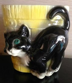 Vintage Royal Copley Green-Eyed BLACK CAT & Yellow Barrel PLANTER. Great For HALLOWEEN Candy For Trick-or-Treaters.