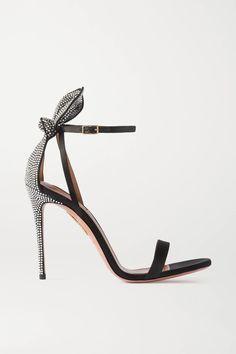 Black Bow Tie, Black Satin, Stiletto Heels, High Heels, Splendid Shoes, Colorful Shoes, Fashion Essentials, Aquazzura, Black Sandals