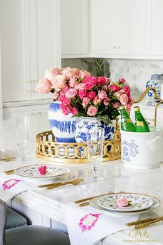 entertain this summer in your kitchen! pink roses, blue spode and ginger jars - Trend Alert Pink and Blue - Randi Garrett Design