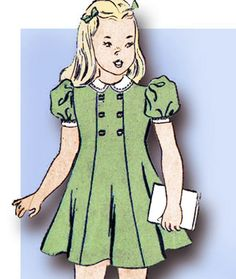 Vintage Advance Sewing Pattern 2674 WWII Little Girls Princess Dress Sz 8 Little Girl Princess Dresses, Princess Dress Patterns, Girl Dress Patterns, Toddler Girl Dresses, Baby Patterns, Stitch Patterns, Childrens Sewing Patterns, Sewing For Kids, Vintage Sewing Patterns