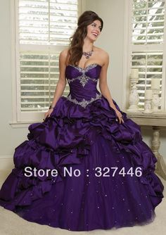 Wholesale Quinceanera Dresses - Buy 2014 New Charming Unique Ball Gown Long Quinceanera Dresses Taffeta Tulle Puffy Purple Blue Pleat Layered Beads Sweet 15 16 Gown, $116.7 | DHgate