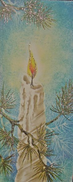 Vintage Christmas card, candle