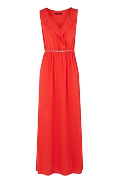Frill Front Maxi Dress   Orange   Oasis Stores