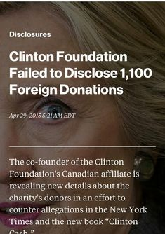 4/29/2015: Clinton Foundation. Click on Bloomberg.com/article above photo to read article.
