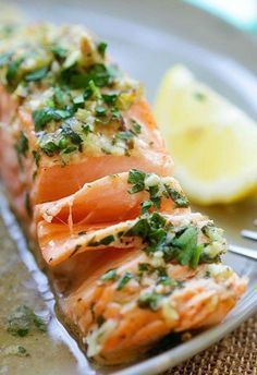 Garlic Herb Roasted Salmon – best roasted salmon recipe ever! Made with butter, garlic, herb, lemon and dinner is ready in 20 mins Fish Dishes, Seafood Dishes, Fish And Seafood, Fish Recipes, Seafood Recipes, Cooking Recipes, Healthy Recipes, Delicious Recipes, Herb Recipes
