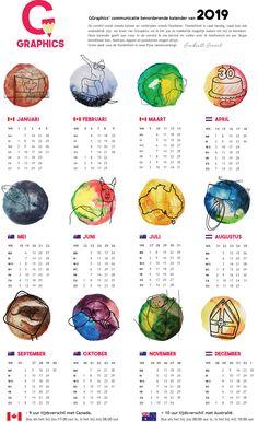 GGraphics kalender van 2019 Freelance Graphic Design, Calendar