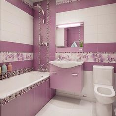 Combine Storage and Style With Bathroom Cabinets - Life ideas Girl Bathrooms, Baby Bathroom, Modern Bathroom Tile, Purple Bathrooms, Bathroom Design Small, Laundry In Bathroom, Bathroom Cabinets, Bathroom Interior Design, Bad Styling