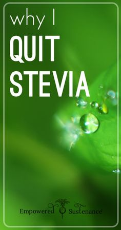 """Why I Quit Stevia -- an interesting (and unpopular) take on Stevia. Most people don't high light reasons why Stevia, even as a natural herb, could still become """"too much of a good thing"""". This article convinced me to make sure I keep natural sugars as part of my diet, but to alternate or use with stevia so my body can use everything I give it. Good read."""