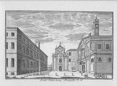 L'ospedale Fatebenefratelli e la chiesa di s. Maria in Aracoeli nell'incisione di Marc'Antonio Dal Re (1745). Della chiesa al centro non sono riuscito a trovare notizie.