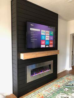 DIY Electric Fireplace Build - - DIY Electric Fireplace Build dream home DIY Elektrokamin bauen Fireplace Tv Wall, Build A Fireplace, Bedroom Fireplace, Living Room With Fireplace, Fireplace Design, Fireplace Ideas, Basement Fireplace, Fireplace Modern, Black Fireplace Surround