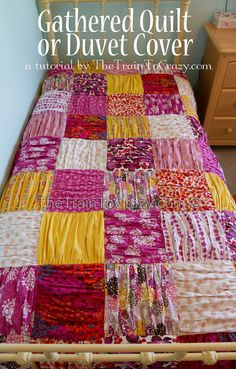 Gathered Duvet Cover or Quilt tutorial - love the combo of pick a bunch & just dandy fabrics!
