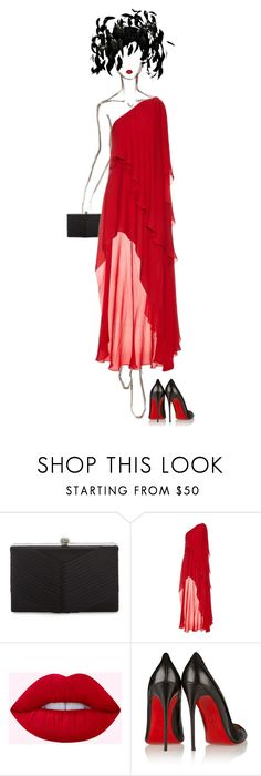 """Scarlet"" by ladygagafashion ❤ liked on Polyvore featuring Badgley Mischka, Elie Saab, Christian Louboutin and Jack McConnell"