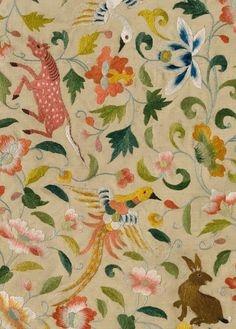 style court: A World of Splendor  [Textile with Animals, Birds, and Flowers, late 12th–14th century, Eastern Central Asia]