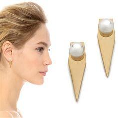 2016 새로운 패션 골드 도금 진주 기하학적 스터드 귀걸이 높은 품질의 보석 도매
