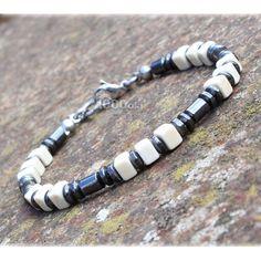 Élégant BRACELET Homme/Men's Perles 4mm Pierres naturelles hématite Noir howlite couleur blanc cube 5x5mm fermoir