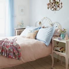 Bedroom Ideas: Shabby Chic Bedroom with Pink Bedlinen also Metal Bed Frame plus Soft Pink Nightstand and Soft Blue Cushions