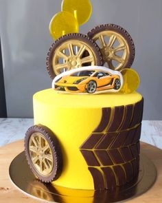Birthday Cake For Mom, Beautiful Birthday Cakes, Amazing Wedding Cakes, Happy Birthday Cakes, Cars Theme Cake, Car Cakes For Men, Bolo Moana, Cake For Boyfriend, Tiger Cake