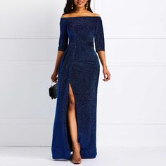 Best Party Luxury Off Shoulder Women Elegant Maxi Long Evening Dress Long Party Gowns, Party Dress Sale, Elegant Dresses, Sexy Dresses, Plus Size Dresses, Long Dresses, Royal Blue Evening Dress, Evening Dresses, Vestidos Sexy