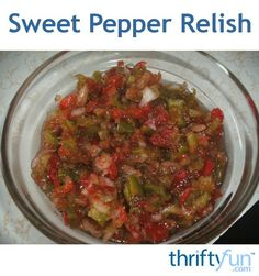 When I serve this relish my guests agree that it is the best relish they have ever tasted. It is not your typical pickle relish, but is made from sweet peppers and onions. It can be made entirely from green peppers, but the sweet red pepper gives it a beautiful appearance. I use a mini food processor to chop the onions. It is so easy.