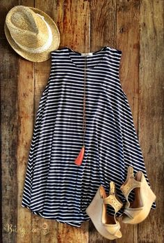Black and White Striped Dress with Tan Wedges and Long Pink Necklace