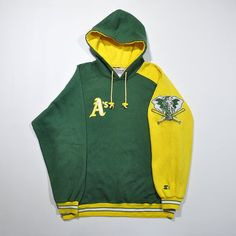fdd3b4896 Rare Vintage 90s STARTER OAKLAND A'S Athletics College Hoodie / Diamond  Collection MLB Multi Color Block Streetwear Hoodie Pullover Jumper