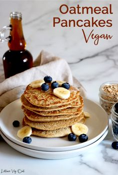 These homemade vegan oat pancakes are gluten free, fluffy and delicious; not to mention simple to make! The gluten free vegan oat pancakes are made completely from scratch for a delicious vegan breakfast. #Vegan #VeganRecipe #VeganBreakfast #VeganPancake #VeganGlutenFree #GlutenFreeVegan #VeganCooking #VeganMeal #VeganMealPrep #PlantBased #DairyFree #DairyFreeRecipe #Eggless Protein Oat Pancakes, Vegan Oatmeal Pancakes, Oat Flour Pancakes, Vegan Pancake Recipes, Vegan Recipes, Health Recipes, Dairy Free Recipes, Gluten Free, Vegetarian Meals