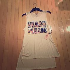 NWT Juicy Couture BEACH PLEASE top NWT Juicy Couture BEACH PLEASE high-low sleeveless top. Long enough to be the perfect beach cover up. Size S (runs big) Juicy Couture Tops
